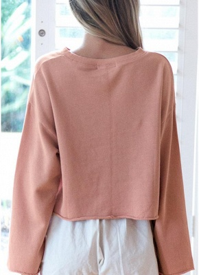 Women Solid O-Neck Hoodies Tracksuit Sweatshirt_7