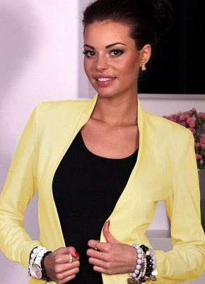 Autumn Spring Business Suit High-Low Women Blazer Coat_2