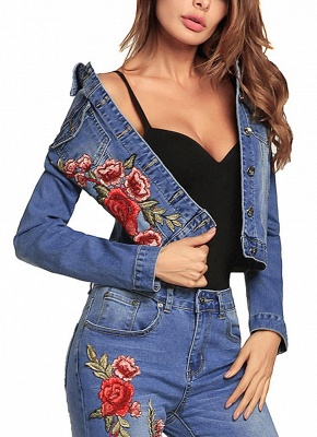 Embroidered Flower Turn-Down Collar Long Sleeve Denim Jacket_4