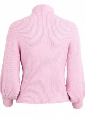 Women High Neck Bat Lantern Sleeve Knitted Sweater_4