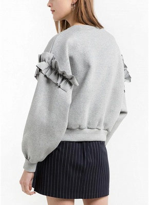 Women Loose Sweatshirt Solid Color Ruffle Round Neck Long Sleeve Casual Autumn Winter Fleece_3