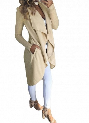 Waterfall Drape Pockets Ribbed Sleeves Casual Warm Outerwear Overcoat_6