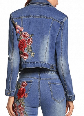 Embroidered Flower Turn-Down Collar Long Sleeve Denim Jacket_5
