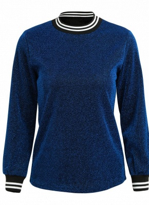 Women Metallic Blouse High Neck Long Sleeves Stripe Casual Elegant Pullover Top_6