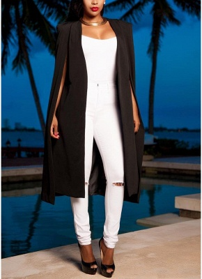 Fashion Women Cloak Cape Split Slim Office OL Suit Solid Long Blazer_4
