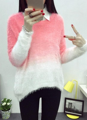 Gradient Fluffy Mohair Batwing Sleeve Loose Sweater_1