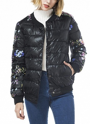 Winter Women Floral Print Quilted Long Sleeve Cotton Padded Jacket Coat_1