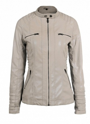 Faux Leather Hooded Zippered Short Slim Motorcycle Jacket_8