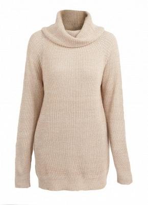 Winter Women Warm Oversize Turtleneck Sweater Long Sleeve Pockets Casual Rib Knitted Mini Dress_5