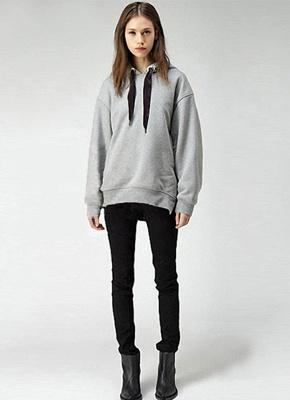 Fashion Side Zipper Hooded Neck Drawstring Long Sleeves Women's Hoodies_6