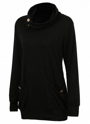 Women Sweatshirts Turtle Neck Pockets Pullover Long Loose Blouse Outwear Tops_10