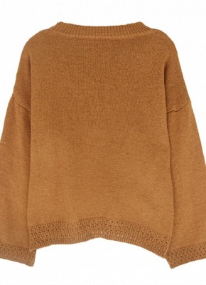Women Loose Knitted Sweater O-Neck Long Sleeve Solid Warm Pullovers Top Knitwear_5