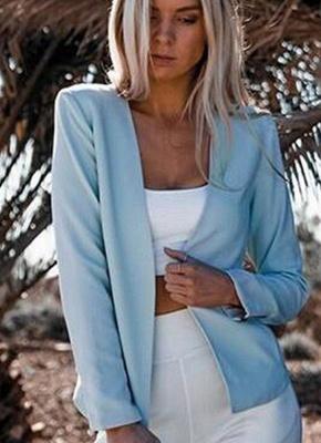 Autumn Women Slim Fit Long Sleeves Open Front Blazer Jacket_3