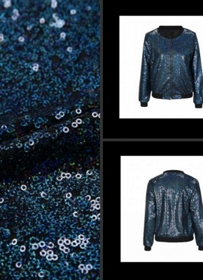 Women Sequin Coat Bomber Jacket Long Sleeve Zipper Streetwear Casual Loose Glitter Outerwear Blue_5