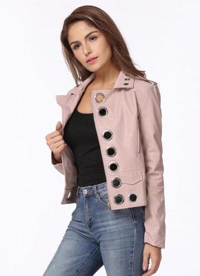 Fashion Hollow Out Leather Slim Hole Short Coat Women's Jacket_5