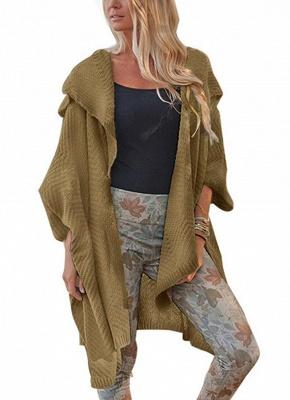 Women Loose Sweater Cardigan Open Front Batwing Sleeve Solid Split Knitted Outerwear_2