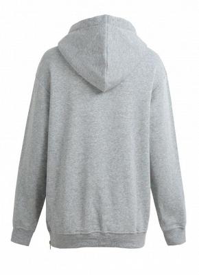 Fashion Side Zipper Hooded Neck Drawstring Long Sleeves Women's Hoodies_5