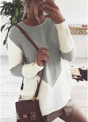 Contrast Color Round Neck Hollow Out Women Casual Knitted Sweater_3