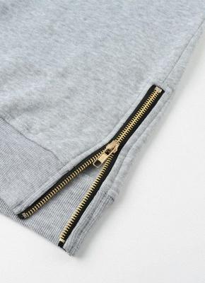 Fashion Side Zipper Hooded Neck Drawstring Long Sleeves Women's Hoodies_10