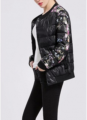 Winter Women Floral Print Quilted Long Sleeve Cotton Padded Jacket Coat_4
