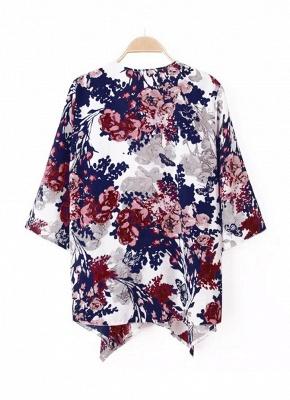 Vintage Floral Print Batwing 3/4 Sleeve Irregular Hem Chiffon Kimono_3