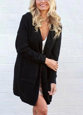 Women Hooded Knitted Cardigan Lace Up Split Long Sleeves Sweater_1