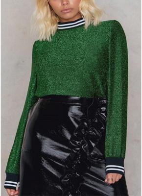Women Metallic Blouse High Neck Long Sleeves Stripe Casual Elegant Pullover Top_3