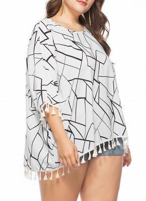 Women Plus Size Blouse Contrast Irregular Geometric Patterns Print Fringe Long Tops_4