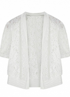 Women Lace Cardigan Open Front Casual Office Beach Top Short Outerwear_1