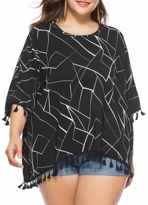 Women Plus Size Blouse Contrast Irregular Geometric Patterns Print Fringe Long Tops_1