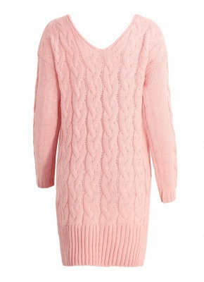 size V Neck High Low Cable Knit Sweater Dress_4