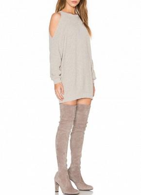 O-Neck Long Sleeve Tunic Women's Sweater Dress_3