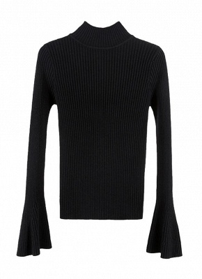 Fashion Winter Women Ribbed Flare Sleeves Stand Collar Women's Sweater_5