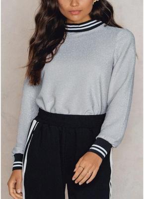 Women Metallic Blouse High Neck Long Sleeves Stripe Casual Elegant Pullover Top_2