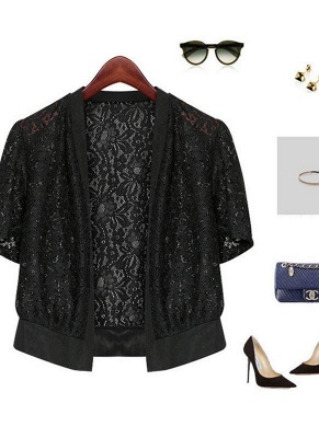 Women Lace Cardigan Open Front Casual Office Beach Top Short Outerwear_7