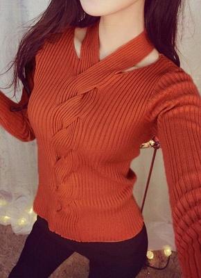 Women Solid Knitted Sweater Rib Pullover Jumper Halter Neck Long Sleeve Twist Slim Knitwear Top_2
