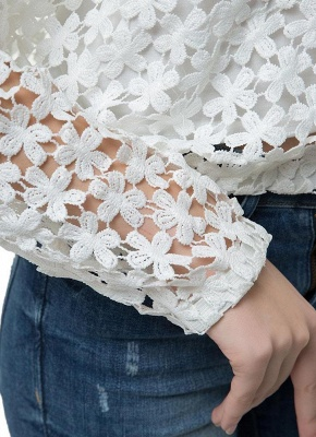 Chic Crochet Lace V-Neck Long Sleeve White Blouse with Vest_8