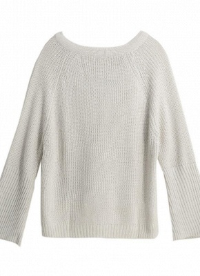 Autumn Winter Sweater Flare Sleeve Lace Up V-Neck Women's Pullover_7