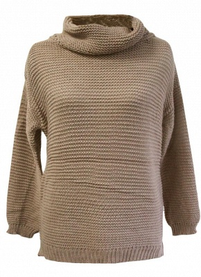 Women Loose High-Neck Long Sleeve Solid Warm Turtleneck Knitted Sweater_4