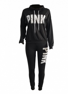 Women Sweatershirt Pants Letter Print Turtleneck Splicing Side Sport Set_4