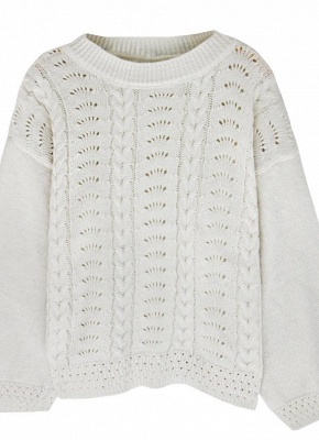 Women Loose Knitted Sweater O-Neck Long Sleeve Solid Warm Pullovers Top Knitwear_1