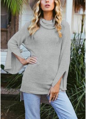 Women Long Sleeve High-Low Hem Bandage Split Jumper Pullover Knitted Sweater_2