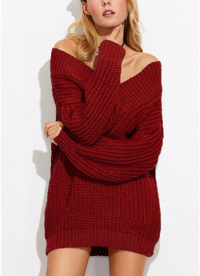 Sexy Women Off the Shoulder V Neck Chunky Knitwear_1
