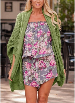 Women Loose Knitted Cardigan Bat Long Sleeves Casual Sweater Outerwear_6
