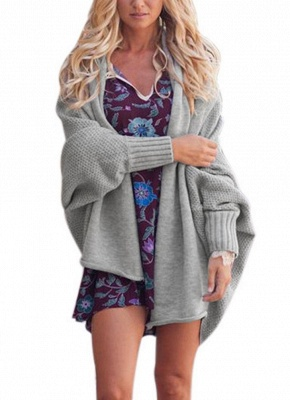 Women Loose Knitted Cardigan Bat Long Sleeves Casual Sweater Outerwear_5