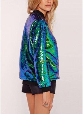 Fashion Women Sequins Coat Bomber Jacket Long Sleeve Zipper Streetwear Casual Loose Glitter Outerwear_3
