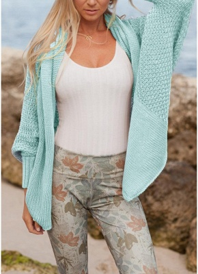 Women Loose Knitted Cardigan Bat Long Sleeves Casual Sweater Outerwear_3