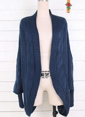 Women Casual Solid Open Front Knitting Sweater Loose Cardigan_2