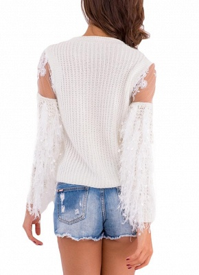 Knitted Lace Fluffy Faux Fur O-Neck Long Sleeve Sweater_9