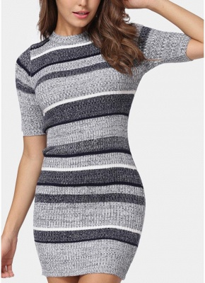 Bodycon Half Sleeves Women's Sweater Dress_1